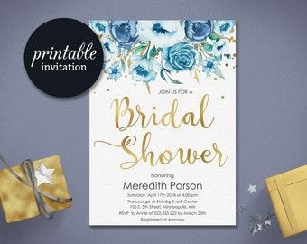 Floral bridal shower invitation Summer Bridal shower invite boho Printable bridal shower invitation gold blue bridal shower invitation
