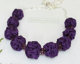Violet textile beaded necklace