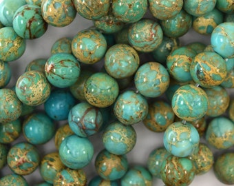 "10mm turquoise blue sea sediment jasper round beads 15.5"" strand 40315"