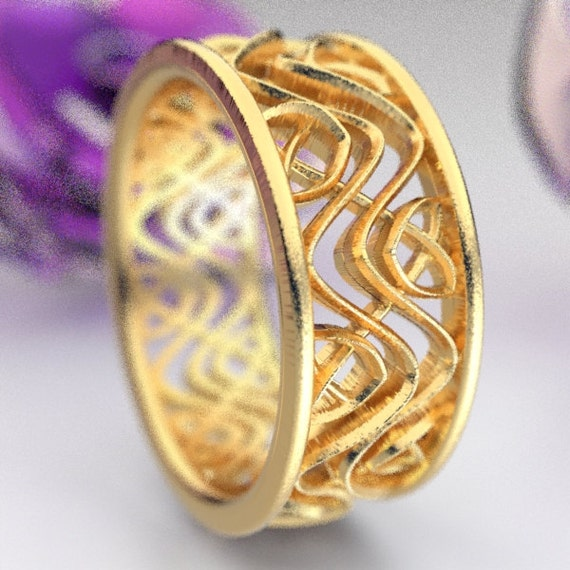 Wedding Ring With Celtic Dara Interwoven Knotwork Design in 10K 14K 18K Gold, Palladium or Platinum Made in Your Size CR-642