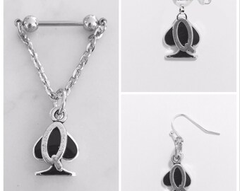 Queen of apade earrings. Dangle earrings, stud earrings or nipple bars/nipple rings.