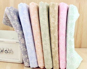 """7pcs/lot 19.7""""x19.7"""" Rose Printed Cotton Fabric For Sewing Craft Fat Quarters doll cloth Quilting Material Tissu Telas"""
