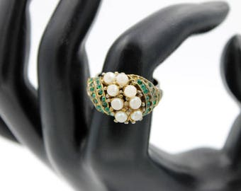 Green Rhinestone Ring with Faux Pearls, Adjustable Ring, Vintage Rings