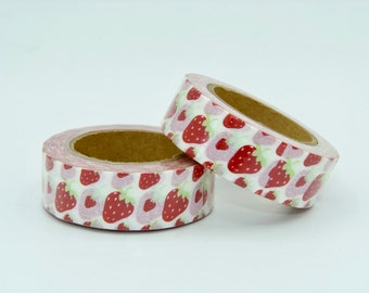 Washi Tape roll - masking tape - strawberries  - Christmas - Gift - decoration planner supplies scrapbooking love