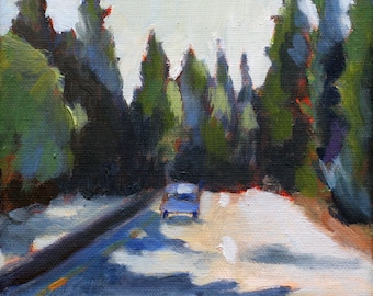 Oil Painting  / art PRINT / Driving through the Redwoods in California