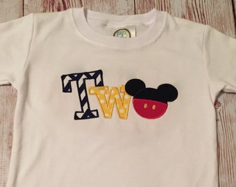 Mickey Mouse 2 Birthday Shirt T Personalized