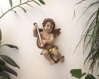 Large and gorgeous Cherub/Angel with mandolin. Vintage
