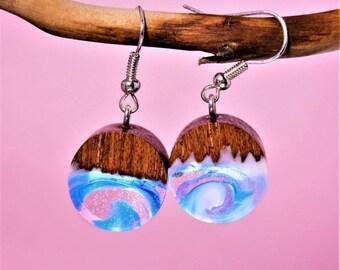 """Earrings """"Snow Waltz"""". Unique gift wooden resin earrings epoxy jewelry"""