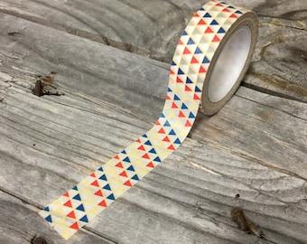 Washi Tape - 15mm - Red, Blue, & Beige Triangles - Washi Tape No. 1121