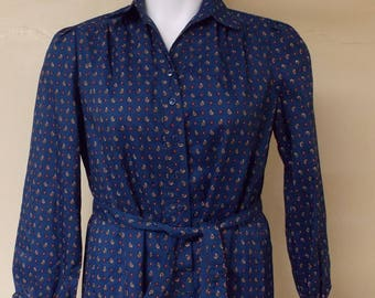 vintage Schroeder Sports dress blue w/tiny rows paisley geo, partial front open long sleeve M/L