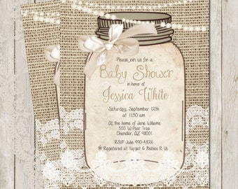 Rustic Baby shower Invitation, Burlap and Lace Invitation, Baby Shower, Invite, Gold, Ivory, Shabby, Sprinkle, Printable, Customize, 5x7