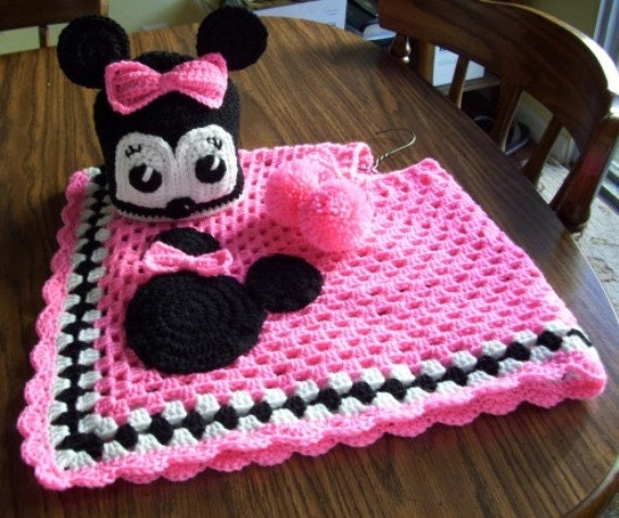 Crocheted Minnie Mouse Poncho & Hat In Bright Pink