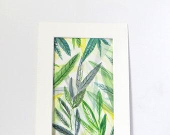 Botanical Green Leaves Watercolour Original Painting