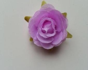 rose en tissu mauve 40mm