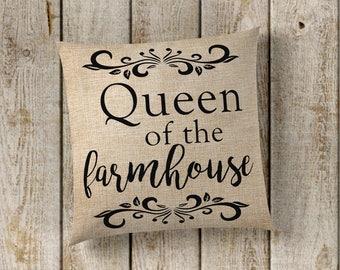 Queen of the Farmhouse Pillow Cover, Farmhouse Pillow Cover, Queen Pillow Cover, Faux Burlap Pillow Cover, Farmhouse Decor, Fixer Upper