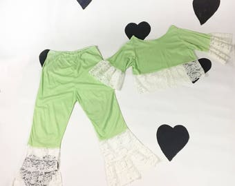 1960's lime flared lace lingerie set 1960's swingy crop top lace trim pants matching set / pajama party / semi sheer / frothy / lacy / M L