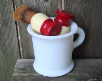 Vintage Hazel Atlas Milk Glass Shaving Mug With Two Ever Ready Shaving Brushes /