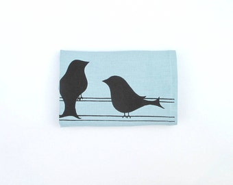 Linen Tea Towel -Two Birds Kitchen Towel - Choose your fabric and ink color