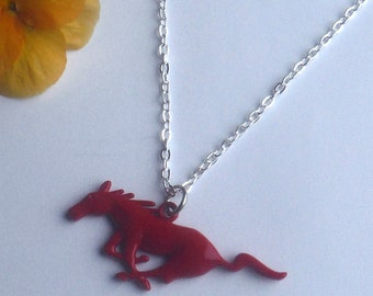 Mustang Red or Black Necklace Pendant or Mirror Dangler
