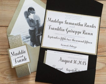 black Glitter wedding invitation with picture| Wedding Invitations | Black Wedding Invitations | Trendy Wedding Invitation | Madelyn