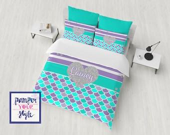 Mermaid Duvet Cover - Custom Mermaid bedding  - Mermaid Bedding Twin - Mermaid Blanket - Custom Mermaid Bedding Comforter or duvet