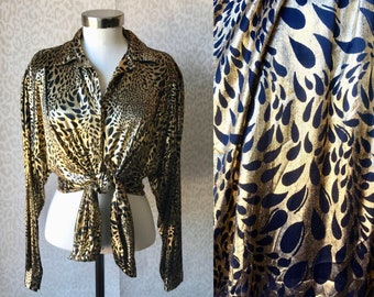 Gold blouse from 80's, animal print, black and gold print blouse, vintage blouse / shirt, Joanna gold shirt, oversized shirt, fits most