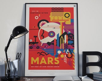 Mars, NASA/JPL Space Travel Poster, Space ,Tourism, Sci Fi Space Solar System Planets Retro Art