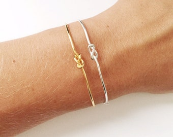 Knot Cuff Bracelet / Love Knot Bangle Bracelet / gift for her/ Bridal Gift