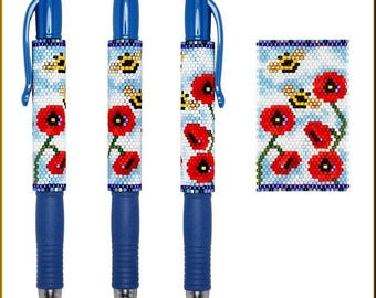 Poppy Field Of Bees Pilot G2 Pen Cover Pattern by Kristy Zgoda