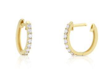 Diamond Huggies / 14k Gold Diamond Huggie Hoops / Diamond Earrings / Shared Prong Diamond Hoops / Small Hoop Earrings / Fine Jewelry