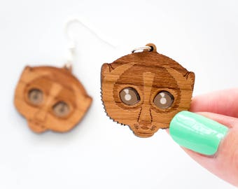 Slow Loris Earrings, Primate Earrings, Dangly Earring, Statement Earrings, Laser Cut Wood, Drop Earrings, Eco Friendly