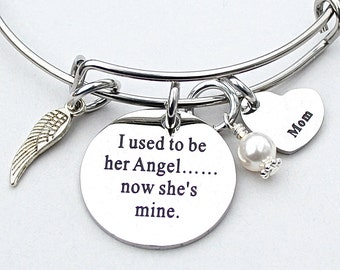 "I Used To Be Her Angel Now She's Mine"", Choose Heart Charm, Memorial ,Loss Of Loved One, Angel Wing, Remembrance, Daughter Gift, Bereavement"