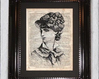 Victorian Lady, Dictionary Art Print, Upcycled Book Art, Silhouette, dictionary page Wall Decor, Wall Hanging, Print on Dictionary Page