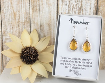 November Birthstone Topaz Silver Teardrop Earrings, Topaz Silver Earrings, Silver Earrings, November Birthstone Earrings