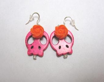 Day Of The Dead Earrings Sugar Skull Jewelry Hot Pink Orange Flower