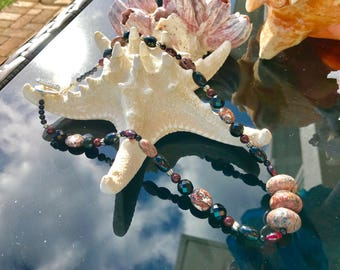 Leopard Skin Jasper, Onyx, Garnet and Deep Red Swarovski Crystal Pearl Necklace