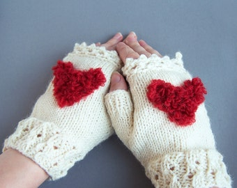 White fingerless wool mittens with fluffy heart For adult woman teen Winter Love Valentine day gift Chunky warm and cozy Ivory creamy M L XL