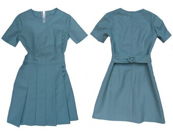 1960S Blue Wool with pleated skirt belted MOD Dress // size eu 3 8- uk 10 - u s 6