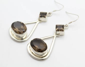 Large Artisan-Crafted Dangle Earrings in Smoky Quartz and Sterling Silver. [11084]