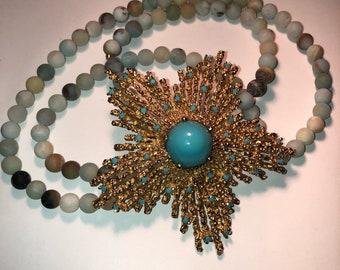 Vintage Turquoise Golden Starfish
