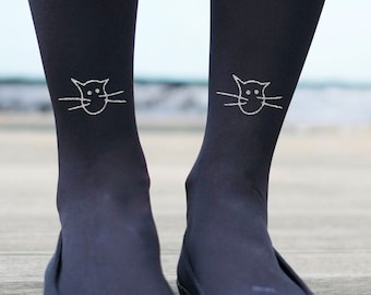 Tights - Quirky Cat print Gold or Silver