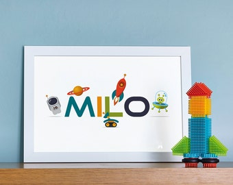 Space Themed Personalised Name Print