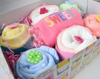 Baby Girl Shower Gift | Baby Cupcakes | New Baby Girl Gift Set | Onesie Cupcakes | New Mom Gifts | Diaper Cupcakes | Unique Baby Shower Gift