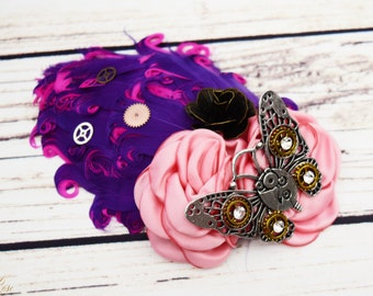 Handcrafted Steampunk Butterfly Hair Clip - Hot Pink and Purple Feather Hair Accessory - Butterfly Wedding - Steampunk Cosplay - Gears Wheel