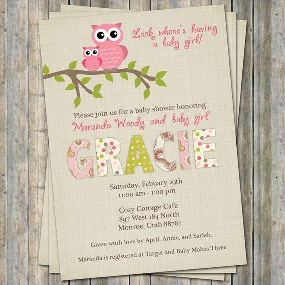 Paisley Owl Baby Shower Invitations Baby Shower Invitation