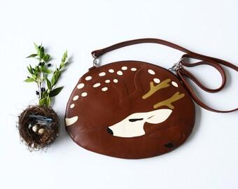 Sleeping Deer Bag Deer Purse Sleeping Reindeer Bag