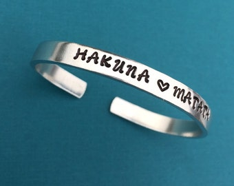 Hakuna Matata with Heart Hand Stamped Bracelet, No Worries, Inspirational Gift, Quote Bracelet, Hakuna Matata Bracelet, Friend Gift For Her