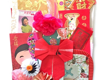 LArge Scrap Chinese paper pack - New and Vintage paper ephemera, paper scraps PAck 3