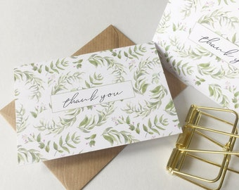 Thank you note cards greenery thank you card set with envelopes MINI Thank You Notecards Small Thank You Cards Gift Cards 10 Set