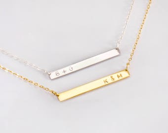 Name Bar Necklace, Dainty Gold Necklace, Name Necklace, 14K Gold Necklace, Initials Necklace, Custom Engraved Necklace, Engraved Jewelry.